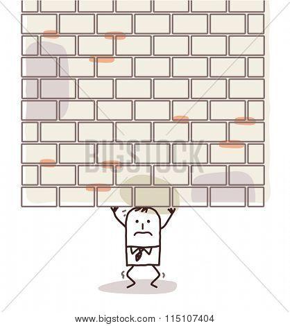 cartoon man crushed under a heavy wall
