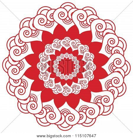 Indian Henna Tatto Inspired Flower Shape With  Hearts Elements With Red Filling.eps
