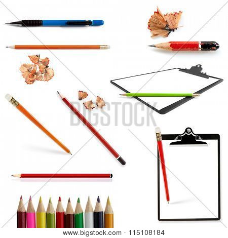 Pencils collection isolated on white.  Includes pencil shavings and clipboards.