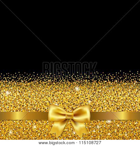 Golden Glitter Postcard With Gradient Mesh, Vector Illustration