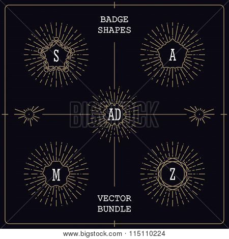 Vector Mono Line Style Badges