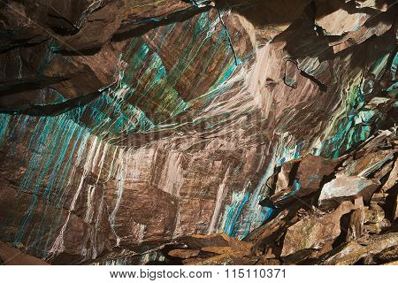 Abstract texture of the oxidated copper on the walls of the underground copper mine in Roros? Norway