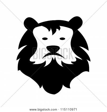 Lion Head Logo Cartoon Style