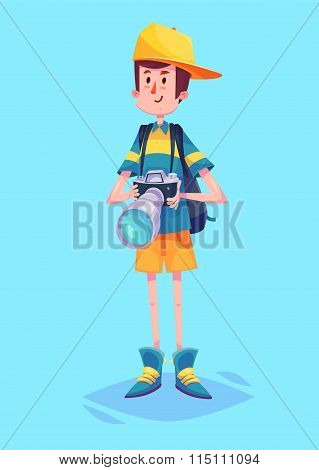 Funny  illustration of ptotographer or tourist cartoon character. Isolated vector illustration.