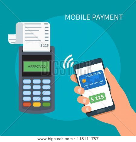 Mobile payments with smartphone. Payment terminal concept. Online transactions, paypass and NFC. Car