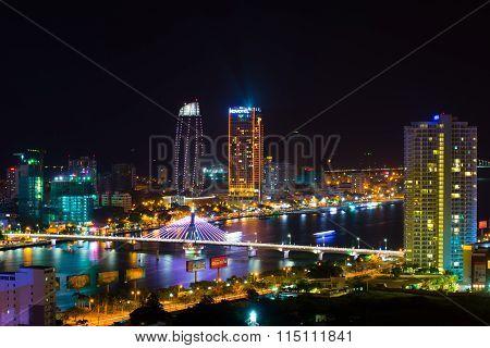 DANANG, VIETNAM, JANUARY 26: Danang city at night on January 26, 2016 in Danang, Vietnam. Danang is a big city in middle of Vietnam
