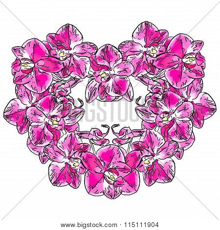 Abstract Heart Sign Made From Phalaenopsis Orchid Flowers