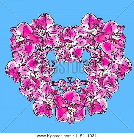 Abstract Illustration Of Orchid Flowers