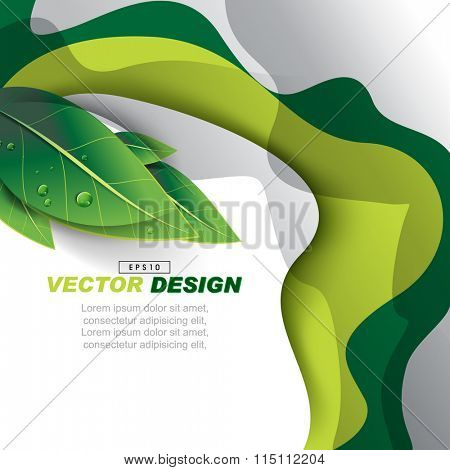 abstract wavy design with wet green leaves nature elements, advertisement background illustration. eps10 vector