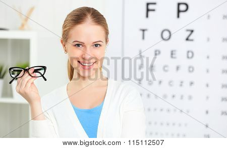 Eyesight Check. Woman With Glasses At Doctor Ophthalmologist Optician