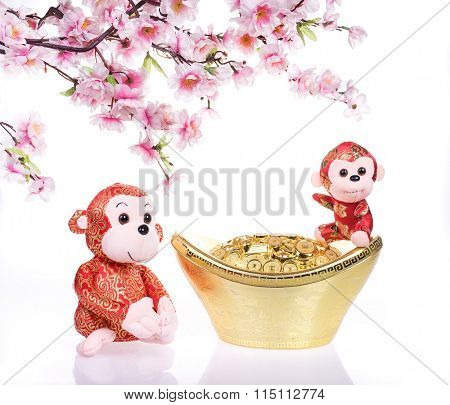 2016 is year of the monkey,chinese traditional toy with Gold Chinese ingot