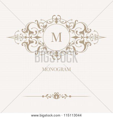 Floral Monogram And Border. ?lassical Elements.