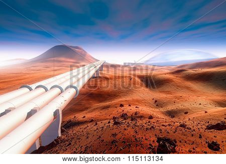 Martian landscape, pipeline construction