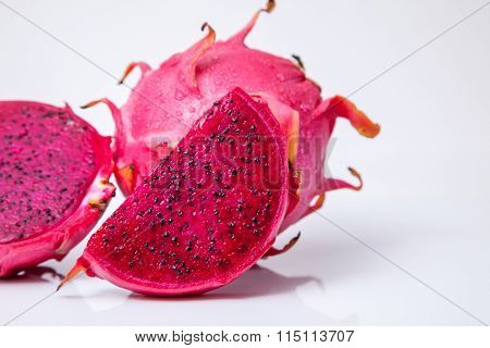 Isolated Fresh Red Dragon Fruit