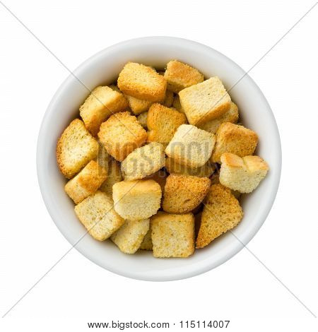 Croutons In A Ceramic Bowl
