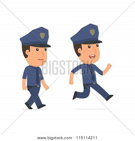 Funny And Cheerful Character Officer Goes And Runs