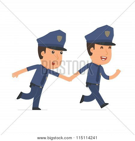 Happy And Joyful Character Officer Runs And Drags His Friend To Show Him Something