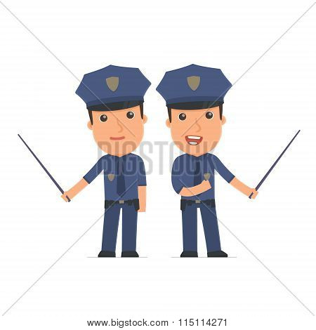 Happy And Intelligent Character Officer Making Presentation Using Pointer