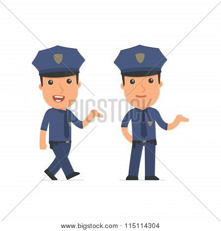 Funny And Cheerful Character Officer Making Presentation Using His Hand