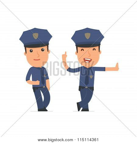 Smart And Funny Character Officer Leaned Against The Wall And Shares Information