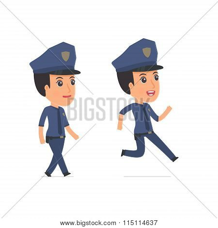 Funny And Cheerful Character Constabulary Goes And Runs