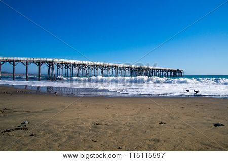Tide Coming In At Pier In California
