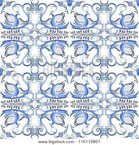 Blue Seamless Pattern With Birds In The Ethnic Style Of Painting On Porcelain. Light Gzhel Ornament.