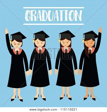graduation university student girls wear cap hat