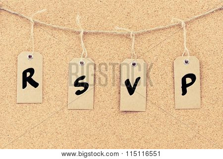 Vintage Grunge Tags With Word Rsvp