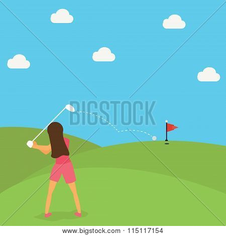 woman play golf put ball on green cartoon