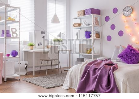 Modern Interior With Purple Color