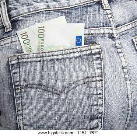 Money, Two Notes On Hundred Euros, In A Hip-pocket Of Blue Jeans