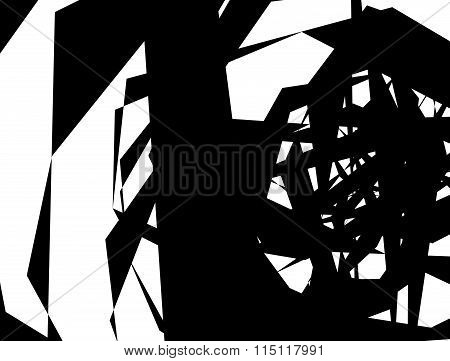 Abstract Monochrome Texture With Overlapping Angular, Edgy Shapes. Vector