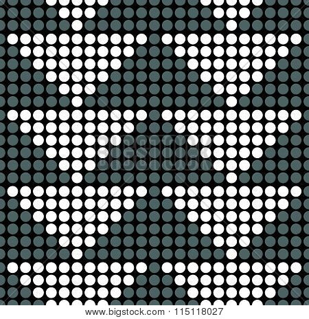Dotted Background With Triangles. Grayscale Monochrome Pattern. Seamless Tileable, Repeatable.