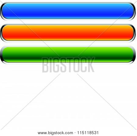 Set Of Rectangular Buttons With Rounded Corners. Colorful Banner, Button Backgrounds With Empty Spac