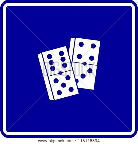 dominoes game pieces sign