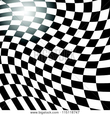 Checkered, Squared Pattern With Distortion Effect. Abstract Vector Art.