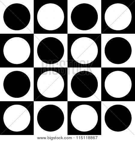 Simple Monochrome Checkered Pattern With Circle And Squares Shapes. Seamlessly Repeatable. Minimalis