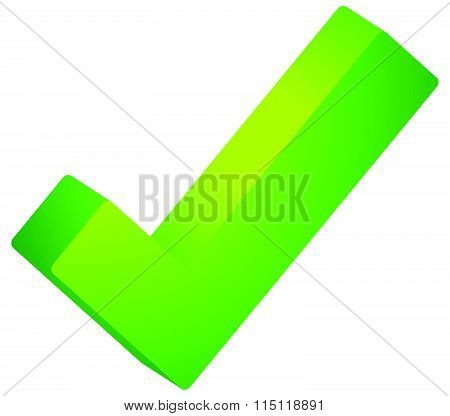 3D Green Check Mark, Tick Icon. Vector Illustration.