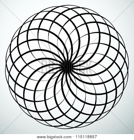 Abstract Circular Element. Rotating, Swirly Shape. Abstract Vector