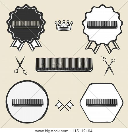 Comb hair brush vintage symbol emblem label collection