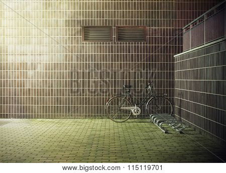 vintage bicycle near the concrete wall