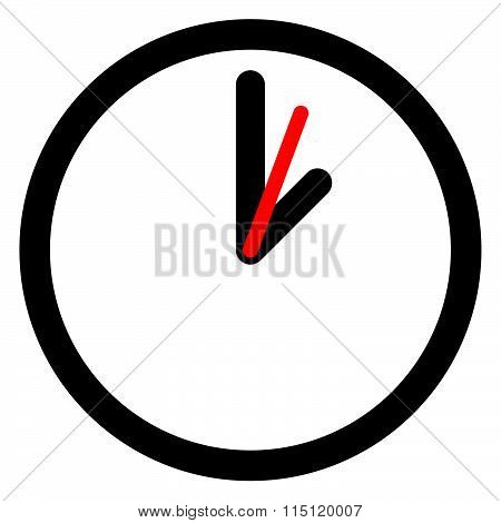 Flat Clock, Wall Clock Symbol On White.
