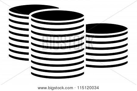 Black Coin Stack, Pile Symbol, Cylinder Shapes. Vector Illustration.