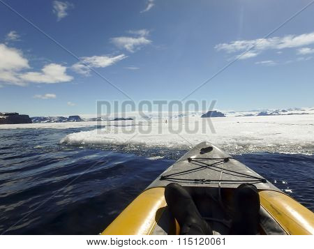 Kayaking Fast Ice, Gustaf Sound, Antarctica