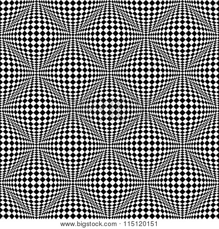 Abstract Checkered Seamless Pattern With 3D Salient, Protuberant Distortion. Seamlessly Repeatable.
