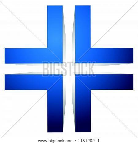 Generic 3D Cross Icon, Double Cross Design Element.