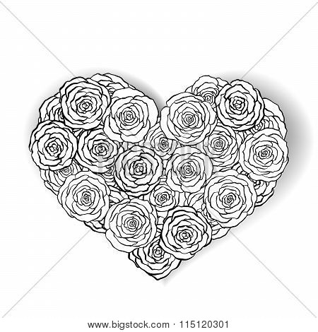 Black and white roses bouquet,monochrome heart made of roses.