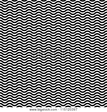 Wavy, Zig Zag, Jagged Lines. Repeatable Monochrome Pattern.