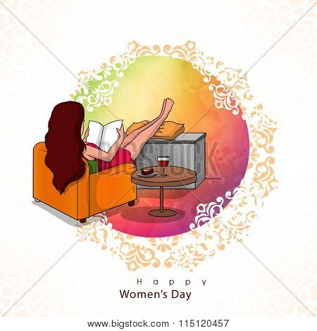 Illustration of a young girl reading book on shiny colorful background for Happy Women's Day celebration.